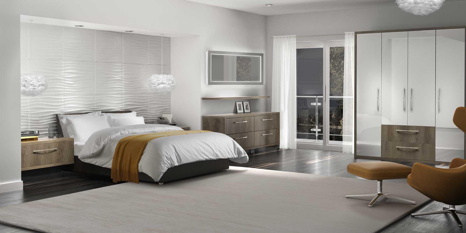 Bedroom Furniture Cardigan - Matt Dark Oak Solar Gloss White